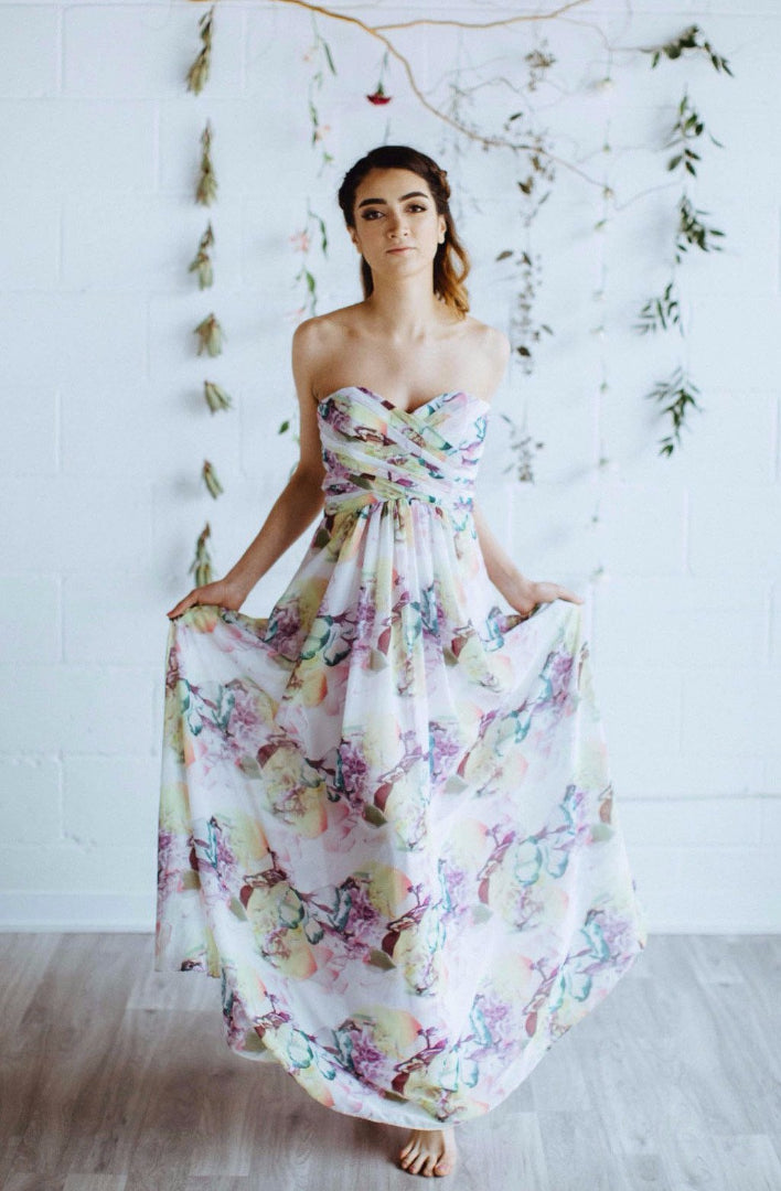 floral print and flowy strapless bridesmaid dress for modern bridesmaids, toronto