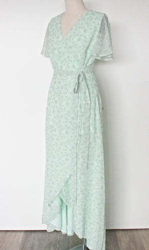Amalfi Floral Wrap Dress | Sage green bridesmaid dress, floral print, flowy custom dress in Toronto