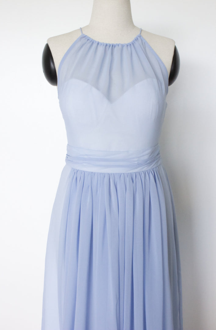 Modern light blue, halter neck a-line dress with a sweetheart bodice in toronto