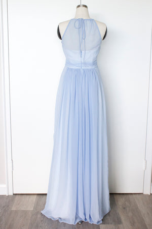 Elegant and modern light blue, halter neck bridesmaid dress with a-line dress with a sweetheart bodice in toronto