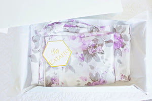 bridesmaid gifts from by catalfo, lavender and white floral print getting ready robes