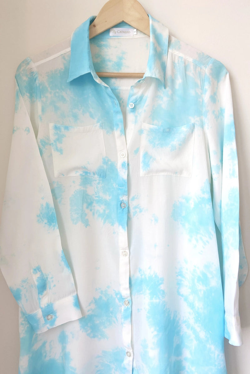 Blue Skies Tie Dye Boyfriend Shirt
