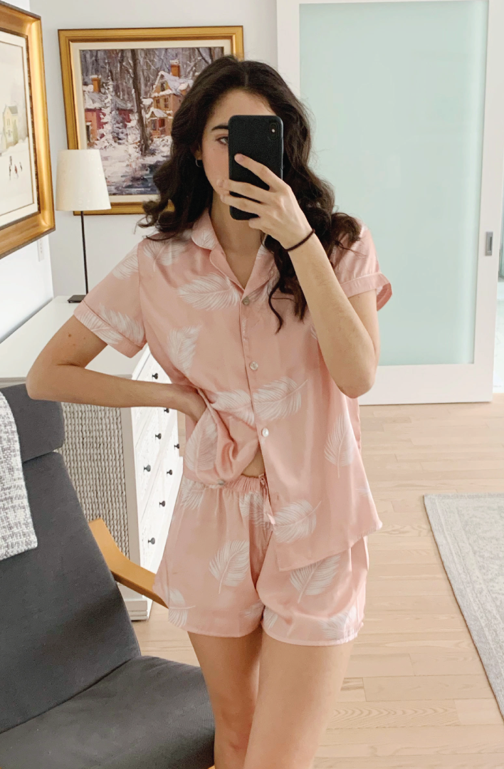 a model wearing by catalfo peach blush palm print short sleeve pj set in toronto