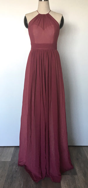 Modern a-line bridesmaid dress in burgundy, marsala colour from by catalfo