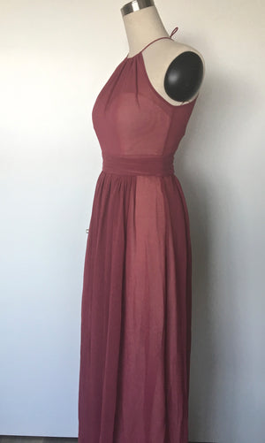 side view of custom modern, a-line bridesmaid dress in toronto