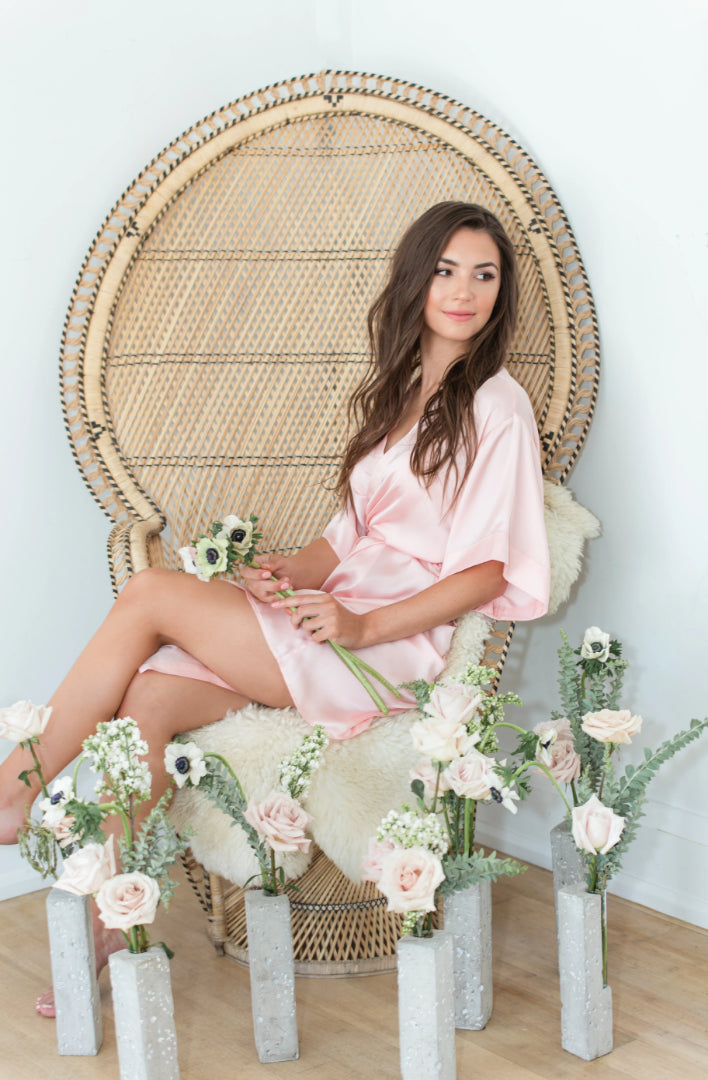 by catalfo silk robe in blush for bridesmaids and getting-ready