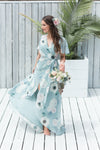 Sage green modern bridesmaid dress in floral print from by catalfo