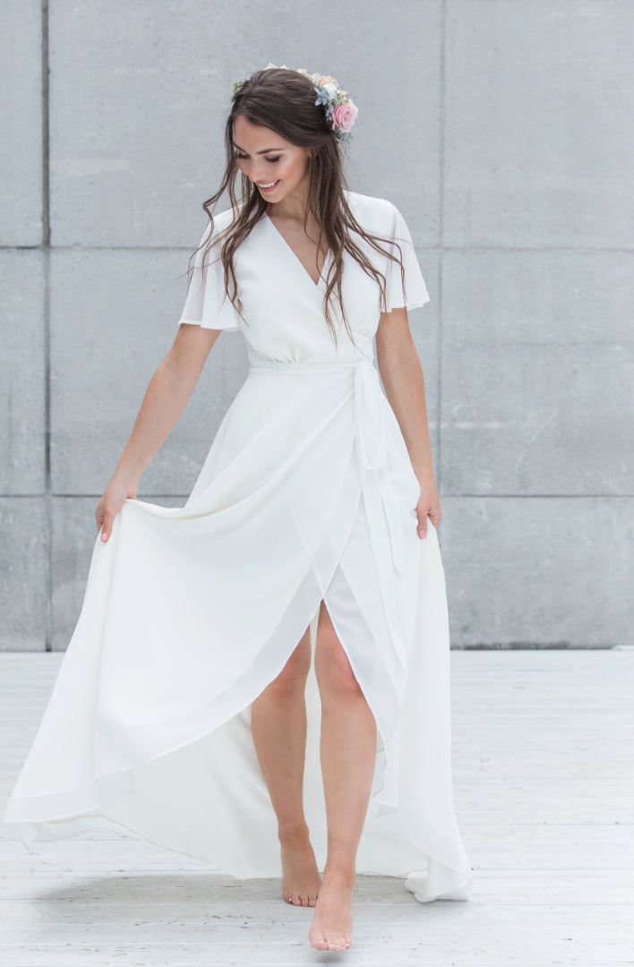 simple ivory wrap dress for a modern wedding