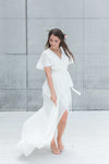 flowy ivory wrap dress for bridal shower, elopement wedding or civil wedding dress