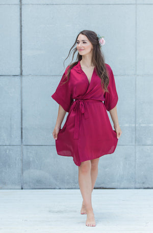 bridesmaid wearing By Catalfo burgundy bridesmaid robe