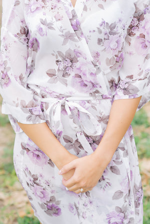lilac and white bridesmaid robe in vintage style floral print from by catalfo