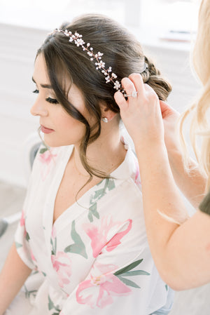 a bride getting ready wearing by catalfo peony floral print robe.