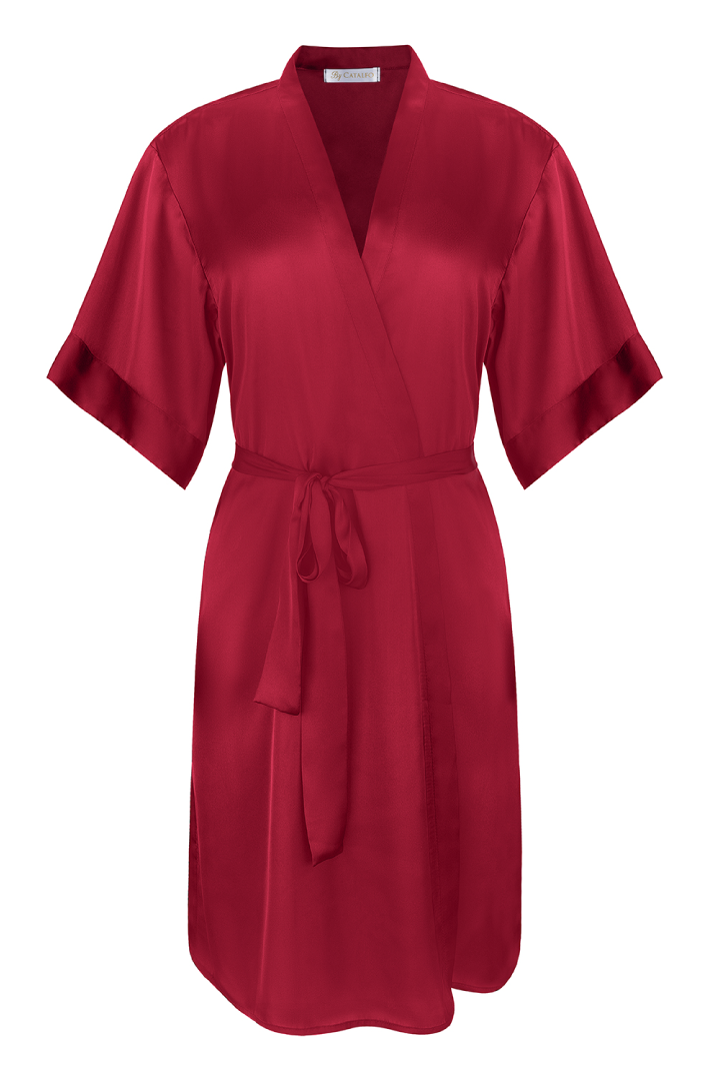 burgundy red, silky, Luxe Robe for women