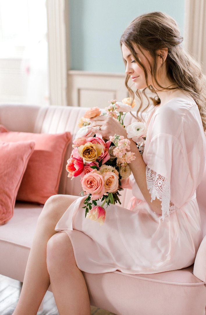 blush bridal robe for getting ready, with modern lace details from by catalfo