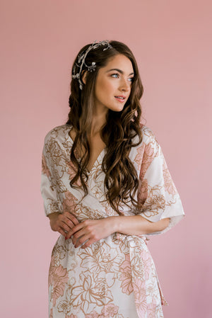 by catalfo silk bridesmaid robe in blush, gold and ivory floral print
