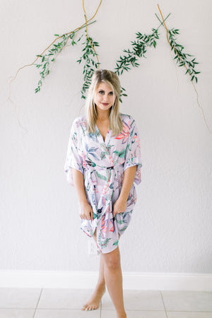 Lavender robe from by catalfo in a tropical floral print for bridesmaids