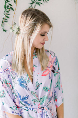 Lavender loungewear robe from by catalfo in a tropical floral print