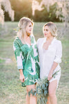 Southern bridesmaids wearing by catalfo Bellisle Palm Print Boyfriend Shirt