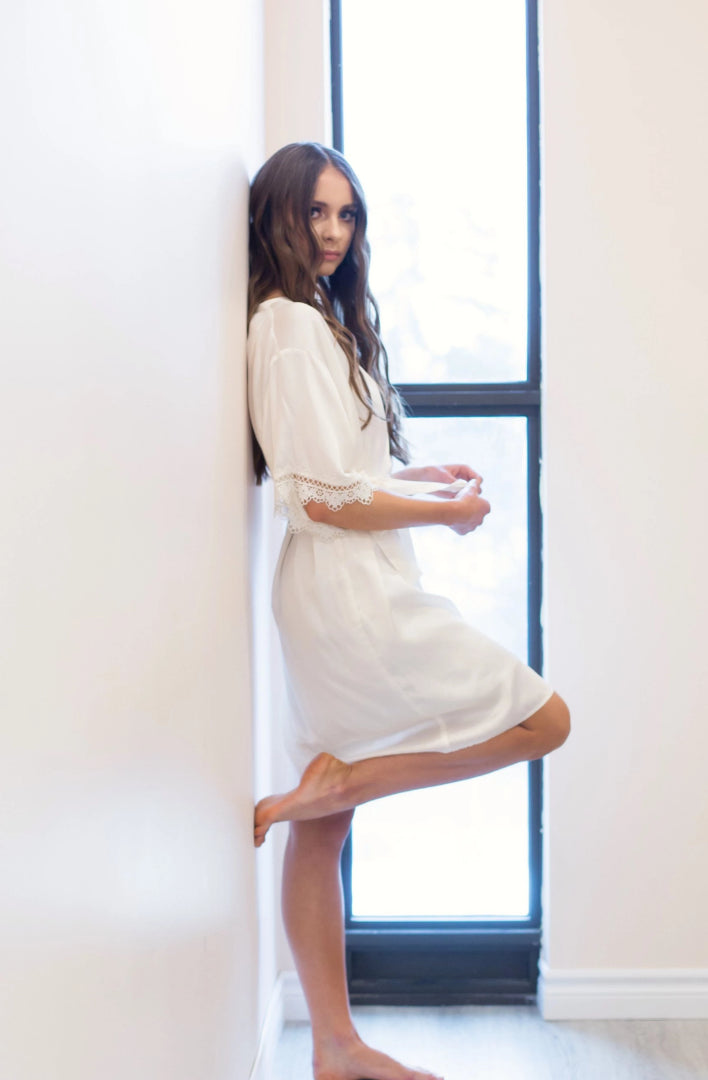 boho style bridal robe with lace details from By Catalfo in Toronto