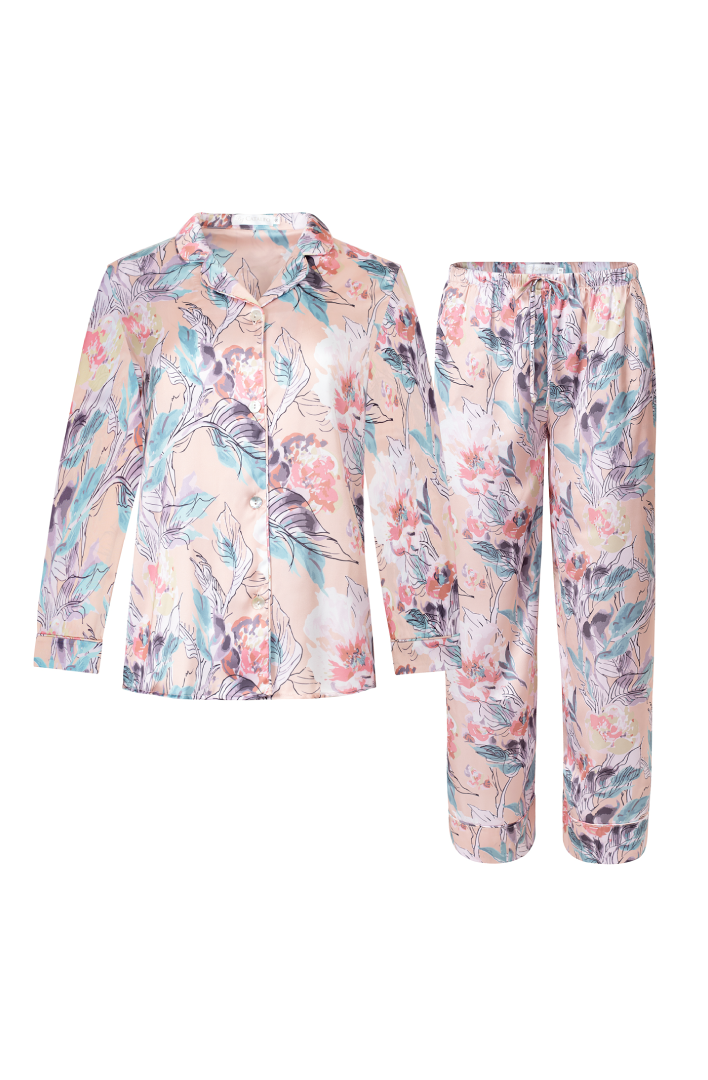 womens floral print silky pyjama set in canada