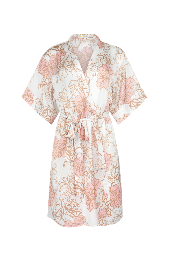 Ivory and blush floral print robe from by catalfo in toronto