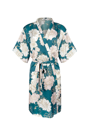 forest green and blush floral bridal robe from by catalfo in toronto