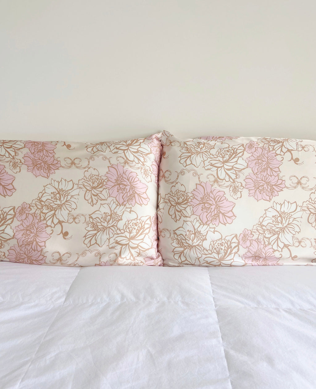 two floral print silk pillowcases