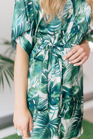 Tropical palm print loungewear robe from by catalfo in toronto