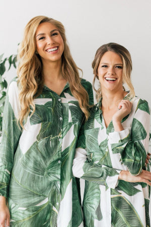 tropical palm print boyfriend shirts from by catalfo for bridesmaids