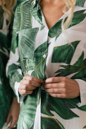 button up sleep shirt from by catalfo in a tropical palm print
