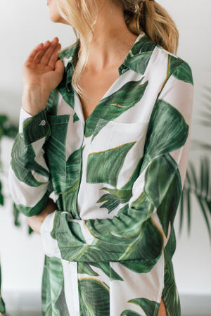 tropical palm print sleep shirt pj set from by catalfo for bridesmaids