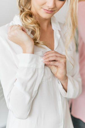 Bridal white boyfriend shirt and sleep shirt sleeve cuff detail