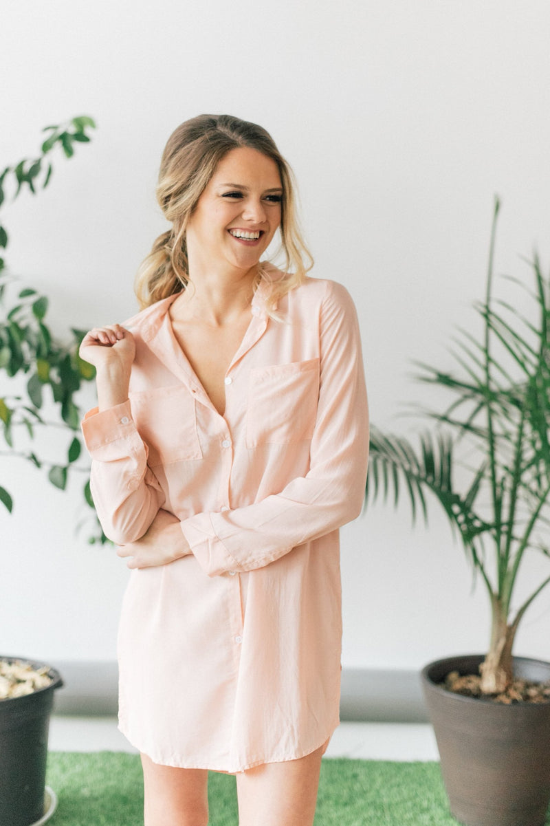 Soft Peach Boyfriend Shirt