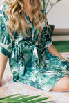 Destination wedding tropical palm print getting-ready bridesmaid robe from by catalfo, at Make Lemonade in toronto