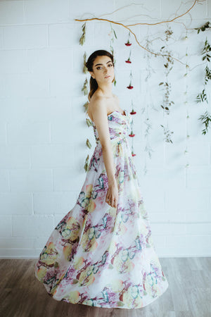 strapless, floral print, custom bridesmaid dress in toronto