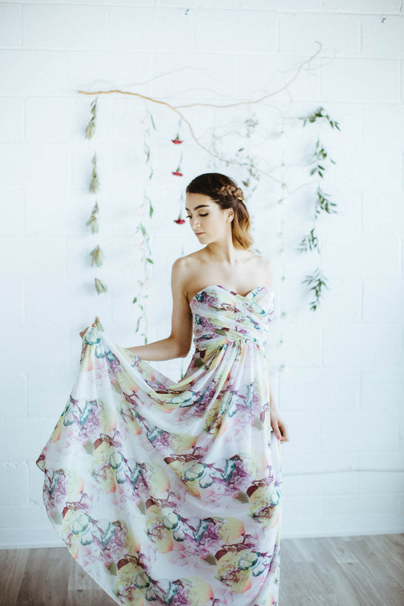 floral print, modern bridesmaid dress in toronto