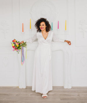 long white wrap dress style for an elopement wedding in toronto