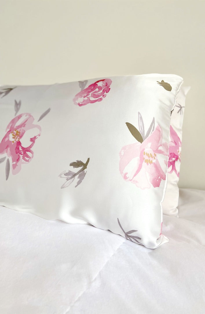 peony print silk pillowcase