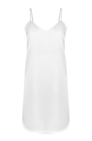 simple white silky slip dress for a bride getting ready