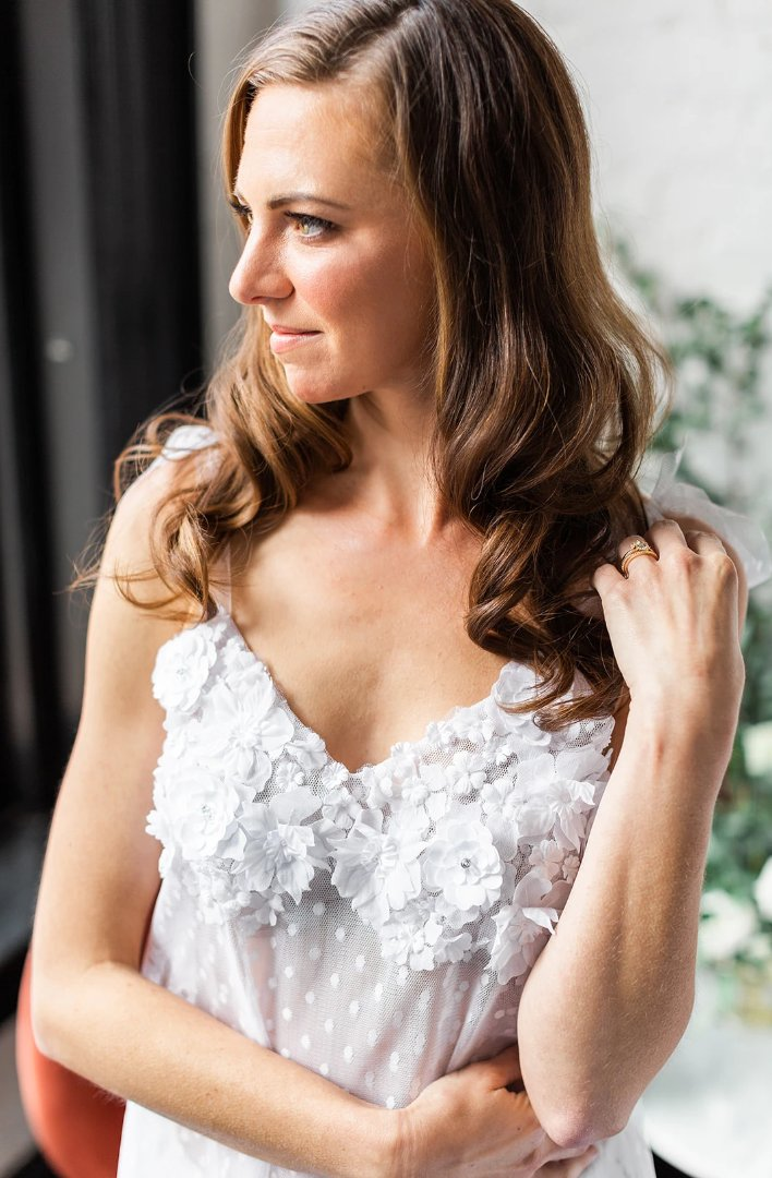 Bride wearing 3d floral lace pj top on wedding day