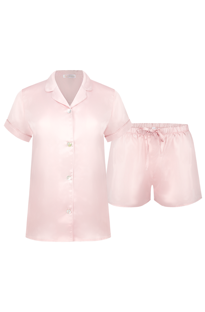 womens pretty blush shortie pyjama set for summer