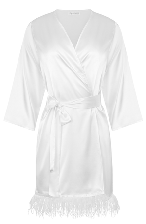 White satin robe with luxurious ostrich feather trim