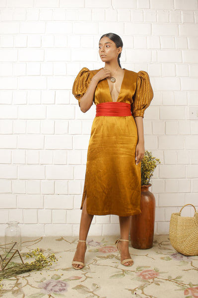Gold Mashru Puff sleeve Dress