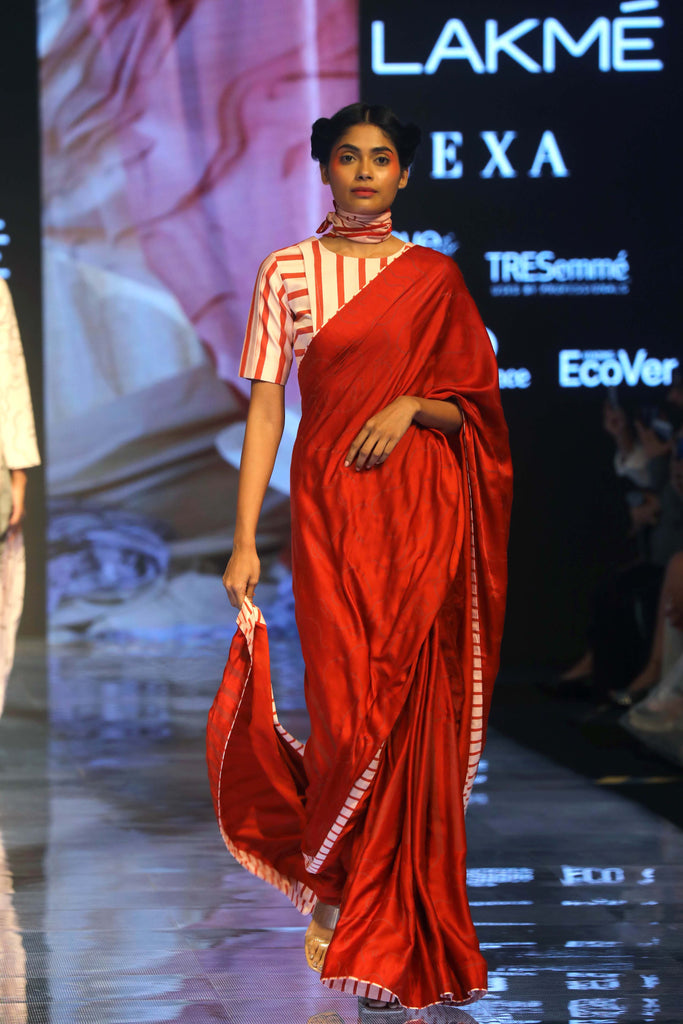 SCREEN PRINTED RED SAREE with RED STRIPE PINK BLOUSE