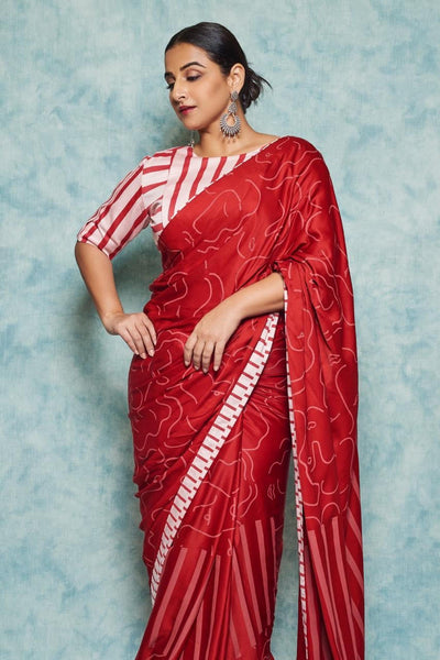 RED MATISSE SAREE with RED STRIPE PINK BLOUSE
