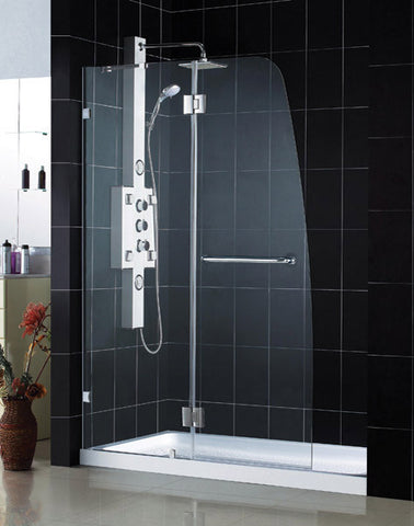 "AquaLux Hinged Shower Door and SlimLine 36"" by 48"" Single Threshold Shower Base"