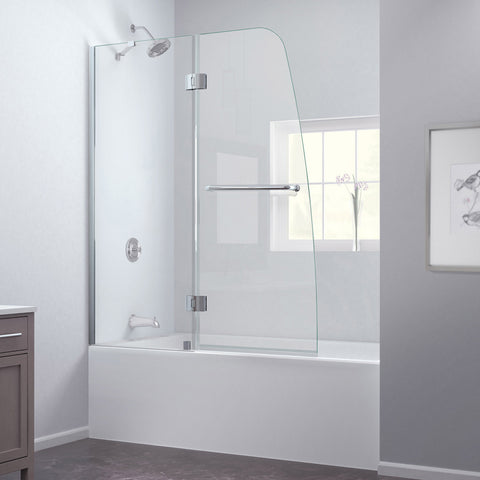 "Aqua 48"" Hinged Tub Door, Clear 1/4"" Glass Door, Brushed Nickel Finish"