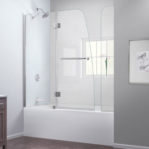 Aqua 56 to 60 in. W x 58 in. H Hinged Tub Door, Brushed Nickel Finish Hardware