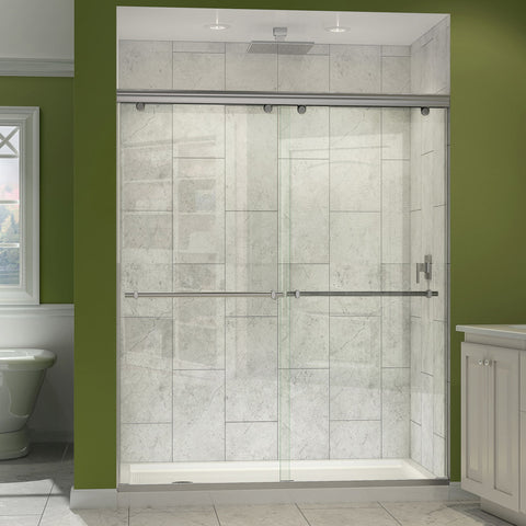 "Charisma Bypass Sliding Shower Door and SlimLine 34"" by 60"" Single Base Drain"