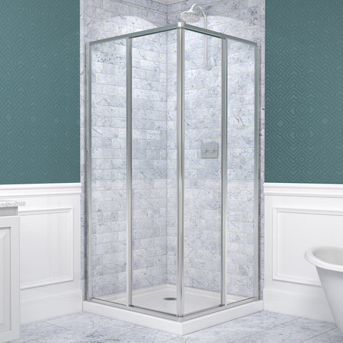 "Cornerview Framed Shower Enclosure and SlimLine 36"" by 36"" Double Threshold Base"